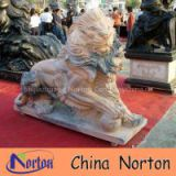 Norton large carved sunset red marble mighty lion playing the ball for exhibition NTBM-L006L