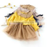 B22640A Autumn new fashion girls bow tie ribbon gauze long sleeves dress