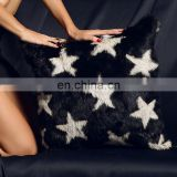 China Supplier The Stars Printed Rabbit Fur Decorative Cushion Cover
