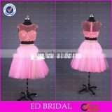 CE803 Unique New Fashion Two Piece Beaded Pink Sexy Evening Gown Patterns