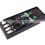 3.5 cm jacquard fashion leisure series men's suspenders 6 clips green striped color suspenders
