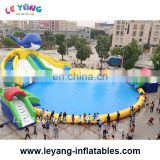inflatable land big Water Park, big pool with slide