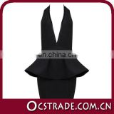 2014 sexy v neck black halter backless open low back cocktail dress
