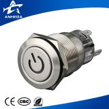CE RoHS 19mm circle illuminated spdt latching stainless steel push button switch with symbol