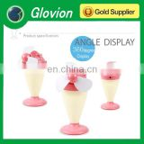 Cute ice cream battery fan usb mini desk fan Portable Mini USB Fan & lamp