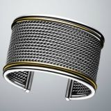Women Fashion Jewelry Inspired DY Sterling Silver Wide Wheaton Cuff Bracelet