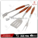 New Design 3 Pieces Stainles Steel BBQ Tool Set With Wood Handle