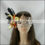 hot selling plastic party mask,handmade half face mask,feather flower party mask