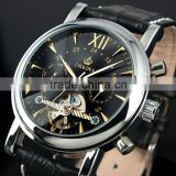 Leather mens stainless steel mechanical watches automatic WM306