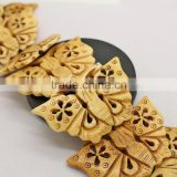 OB052 Beautiful 2 sided carved bone large flower butterfly beads