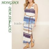 Plus Size Stripe Maxi Dress Fat Women Lady Sleeveless Casual Dresses Designs Pictures HSd7511