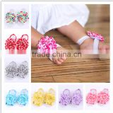 Fashion mixed color baby chevron foot flower baby chevron chic flower Barefoot Sandal WH-1273