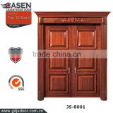 China modern simple interior / exterior bolection teak wood door double sliding solid wooden door