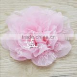 3.75 inch Chiffon Lace Flower in Pink - Solid chiffon flower with lace- Flower Head for Headbands and DIY Hair Accessories