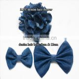 New HOT SALE!! large Denim Lace Flower - denim fabric bowknot hair accessories wholesale