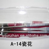 Korean stainless chopsticks made in China ( With blue flower stick on)