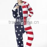 One Piece Womens Ladies American Flag Jumpsuit Hoody Playsuit Stars And Stripes