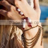 European and American trade jewelry retro style pearl crystal beaded chain tassel multilayer bracelet women mittens