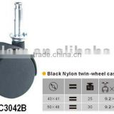 black nylon twin-wheel furniture castor with brake plain bearing