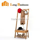 LB-AL5170 Free Standing Bamboo Clothes Hanging Rack with Shoe Rack