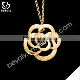 2016 Jewelry gold choker necklace 925 sterling silver flower pendant in gold plated
