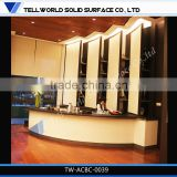 2014 hot sale modern popular luxury boat shape artificial marble hotel bar counter furniture
