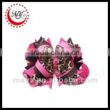 Fashion hot pink leopard animal printed hair bows