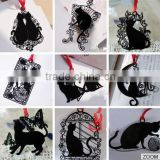 2015 metal black cat Bookmark mystical cute hollow out cartoon bookmark for kids and promitosn