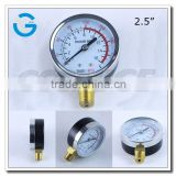 High quality 2.5 inch black steel case brass internal acetylene oxygen pressure manometer with bottom connection