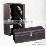 Premium leather custom wooden wine gift boxes