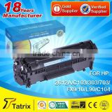 12a toner cartridge/ toner cartridge 103 303 703 for canon lbp2900/ 2612A/ C103/303/703/ FX9/ FX10/ L90/ C104 universal