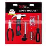 22pcs Hand tool sets 8oz claw hammer utility knife 6'' combination pliers extension bar