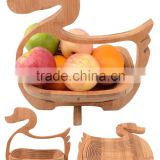 Chinese Gift Craft Drak Spiral Cut Bamboo Basket Wood Hanging Basket Collapsible Fruit Food Basket