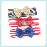 Baby Sequin Headband/Hairband/Hair Bow/Children Hairbands Selling Children's Hair Stripe Cotton Sequined Bow Hair Band
