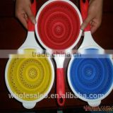 fry basket,collapsible silicone pasta basket strainer,foldable silicone kitchen strainer