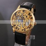 China Supplier Classic Men's Leather Dial Skeleton Mechanical Sport Army Wrist Watch All Gold