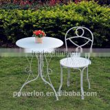Lovely durable KD bistro set antique light blue coffee table