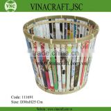 Bamboo basket with magazine paper cover