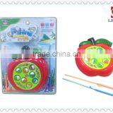 hot sale plastic apple shape fishing game toys with music for kids