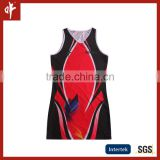 Red/Black girls netball dress uniforms, ladies tennis dress garments,sublimation dresses