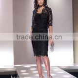 black knee length lace long sleeve mother bridesmaid dress