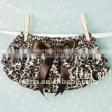 Baby Brown Leopard Satin Ruffles Bloomers Panties BSO1