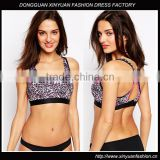 Custom Women Leopard Racer Back Sports Bra,Sexy Leopard Printed Sports Bodybuilding Bra For Ladies