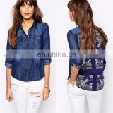 100% Cotton ladies long sleeve denim shirt fashion bandana back denim shirt for woman