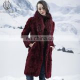 Bordeaux Double Face Lamb Fur Coat Beautiful Style Raccoon Fur Collar Sheep Fur Down Jacket Real Animal Fur Overcoat Reversible