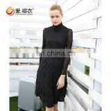 Ladies elegant Sexy Long sleeve High neck One - piece black dresses with see through sleeve