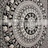 Twin and queen size mandala white and black elephant print tapestry wall hanging cheap china usa product