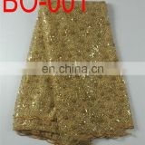 elegant organza embroidery fabric with sequins(BO-001)