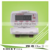 COCET high quality of KFJ-23D 3D sensor pedometer with clip ,digital clock with 3 dimension step counter