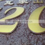 zinc alloy metal word projected nameplate trademark logo label sticker for hotel room number